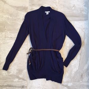 H&M Navy Sweater with Brown rope belt and pockets